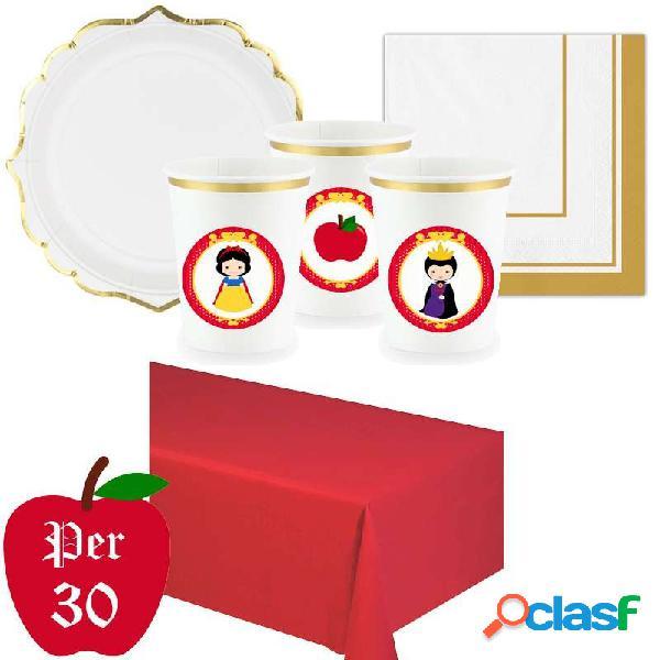 Kit n.3 biancaneve con adesivi - set festa a tema snow white