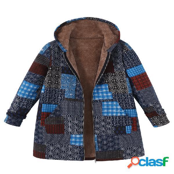 Cappotto con cappuccio con patchwork