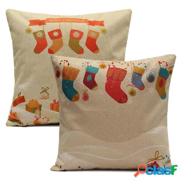 Calzini di natale throw cuscino cuscini divano casa copertura square cuscino