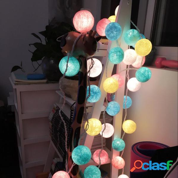 Batteria operata 10/20/30 sfere di cotone fairy led string lights patio party decorazioni natalizie di nozze