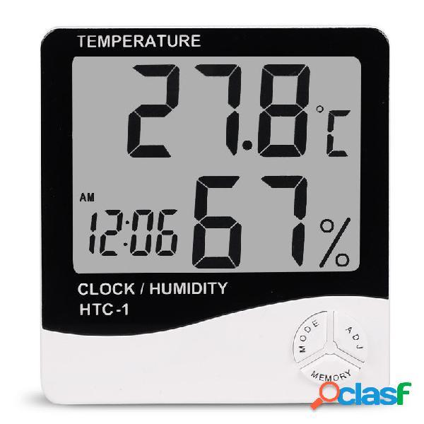 Htc-1 digitale lcd elettronico sveglia termometro igrometro stazione meteo stazione interna tavolo