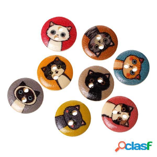 100pcs 15mm stampato cute cat pattern bottone in legno accessori fatti a mano fai da te