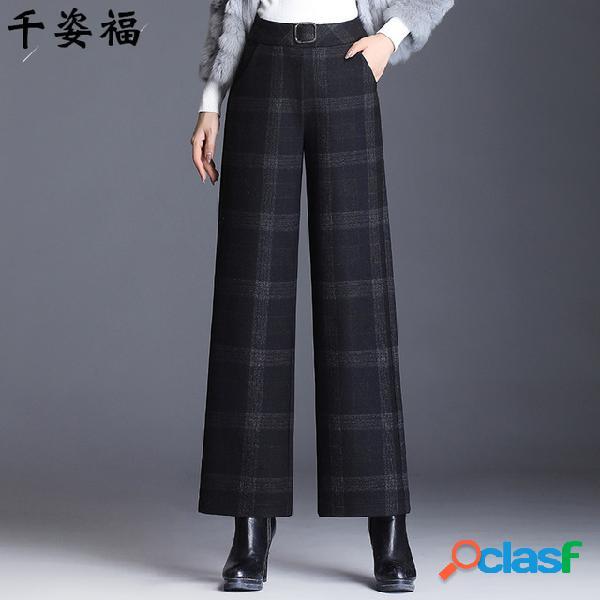 Pantaloni da donna casual in lana pantaloni a gamba larga a vita alta pantaloni da donna