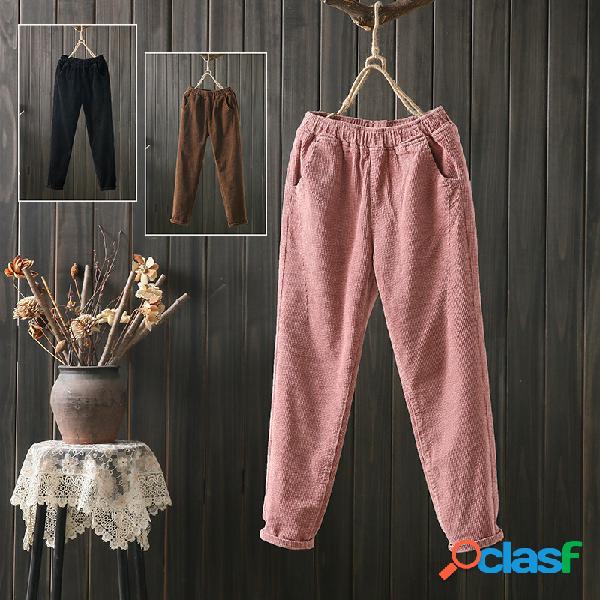 Pantaloni da donna art retro in velluto a coste ritagliata pantaloni harem di grandi dimensioni pantaloni da donna