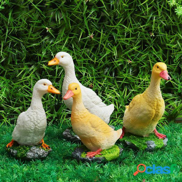 Duck garden ornament resin metallo patio cortile maiale uccello animale stagno scultura