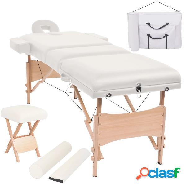 Vidaxl set lettino massaggio pieghevole 3 zone 10 cm e sgabello bianco
