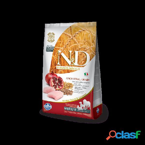 Farmina n&d - farmina n&d ancestral low-grain adult con pollo e melograno per cani sacco da 12 kg taglia media