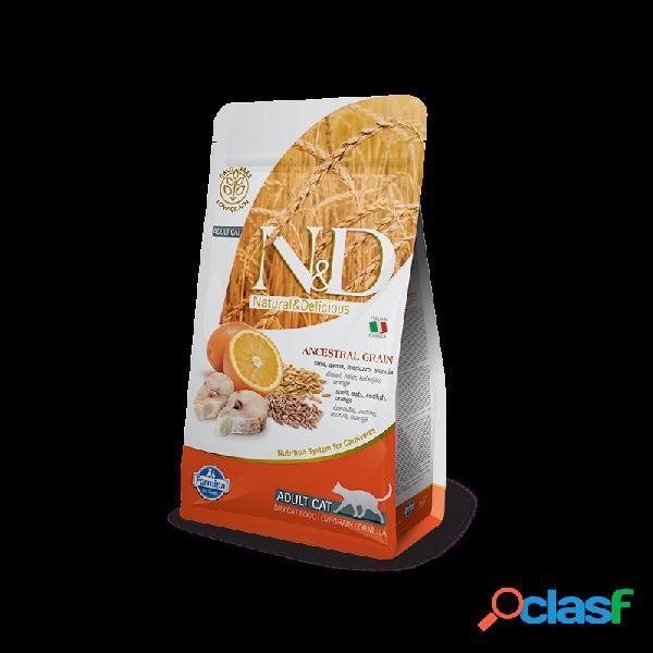 Farmina n&d - farmina n&d ancestral low-grain adult cat con merluzzo e arancia per gatti sacco da 1,5 kg