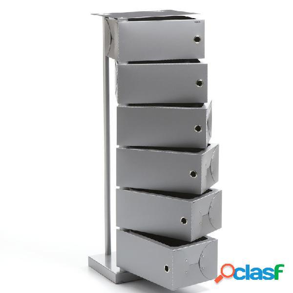 Scarpiera cassettiera fluida grigio 41x25.5xh104 cm contenitore 6 cassetti