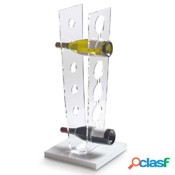 Portabottiglie da terra 30x30xh72 cm table 6 bottiglie in plexiglas trasparente