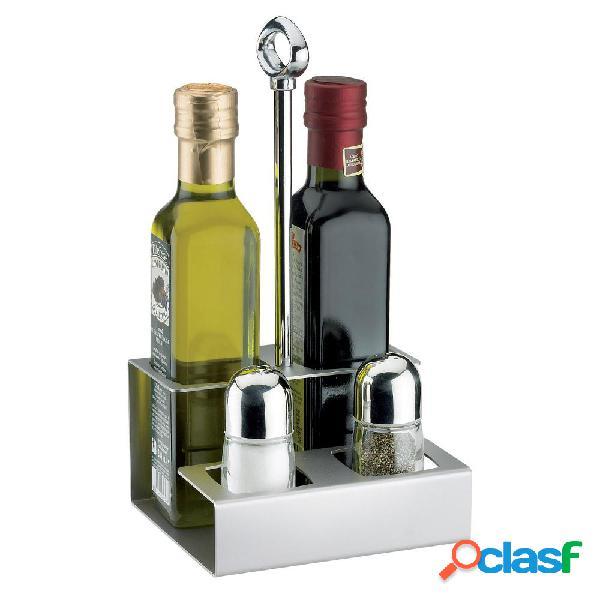 Portabottiglie olio e porta sale pepe 13,5x12xh25,5 cm - versione per bottiglie 25 cl fori 5x5 cm colore cromo