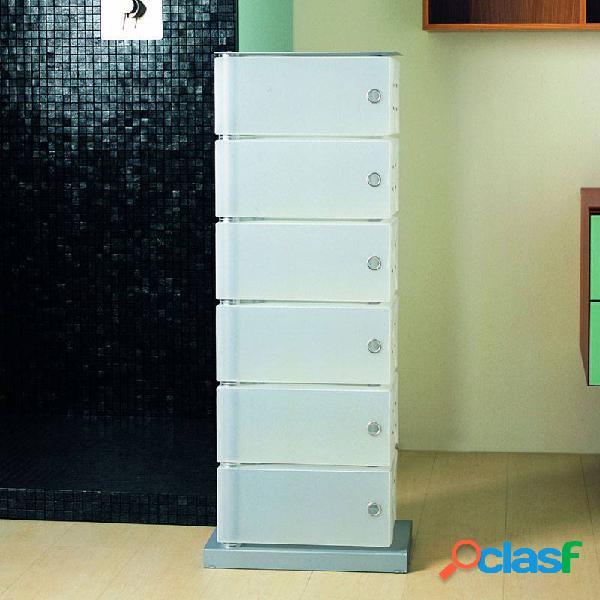 Scarpiera cassettiera 41x25.5xh104 cm contenitore fluida 6 cassetti bianca
