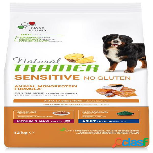 Trainer natural sensitive no gluten adult medio maxi salmone kg 12