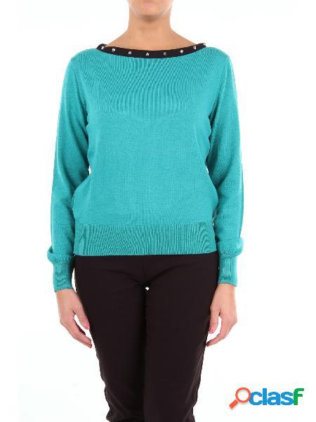 Moschino boutique maglia con scollo a barca di color ottanio con maniche lunghe