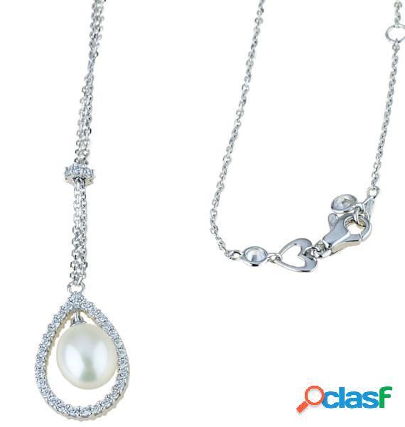Collana donna con perla ovale pendente e zirconi in oro bianco 18 kt mod. c1856b