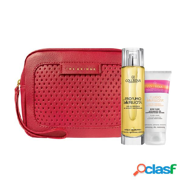 Collistar kit benessere della felicita' profumo della felicita' 100 ml + fluido della felicita' 50 ml + beauty-bag the bridge rossa