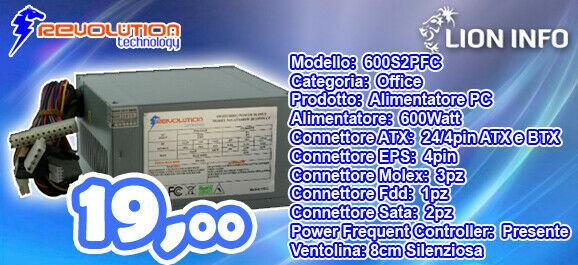 Alimentatore per computer 600watt atx 24pin eps molex, sata,