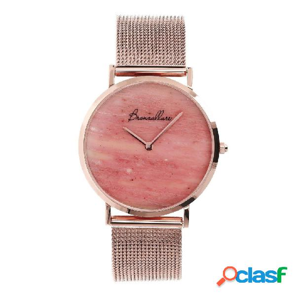 Orologio in acciaio con red fossil wood | rose gold / 3.2 cm