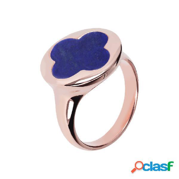 Anello con sigillo quadrifoglio | rose gold / 10 / lapis