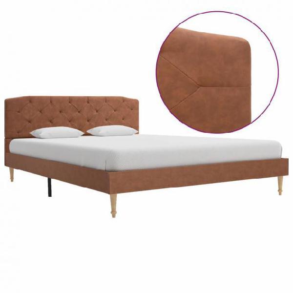 Vidaxl giroletto marrone in tessuto 140x200 cm