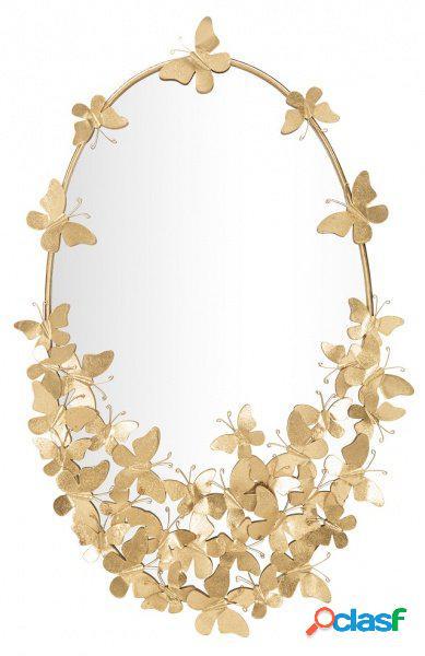 Specchio ovale da muro con farfalle finitura oro