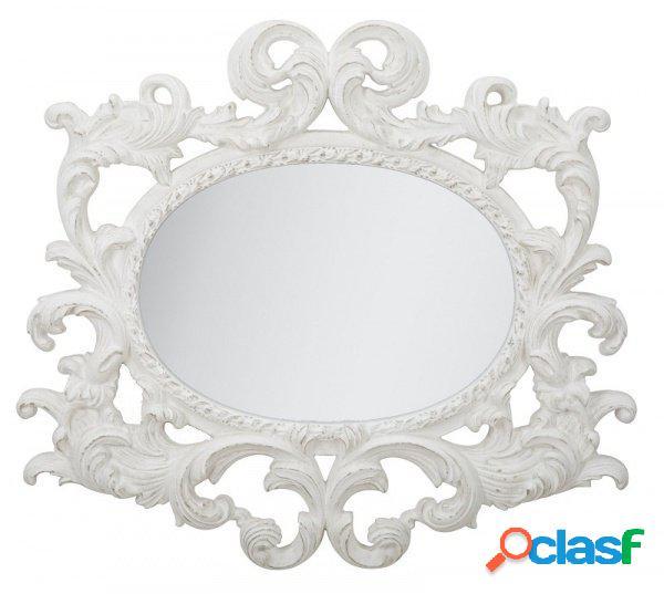 Specchio ovale da parete stile barocco rivisitato decapato