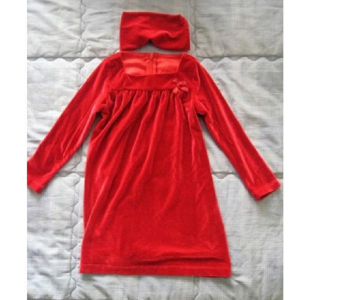 Abitino velluto rosso bambina sarabanda 36m-usato