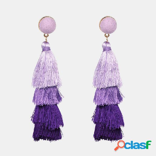 Orecchini etnici lunghi con nappe bohemien orecchini pendenti con frange fatti a mano gioielli etnici