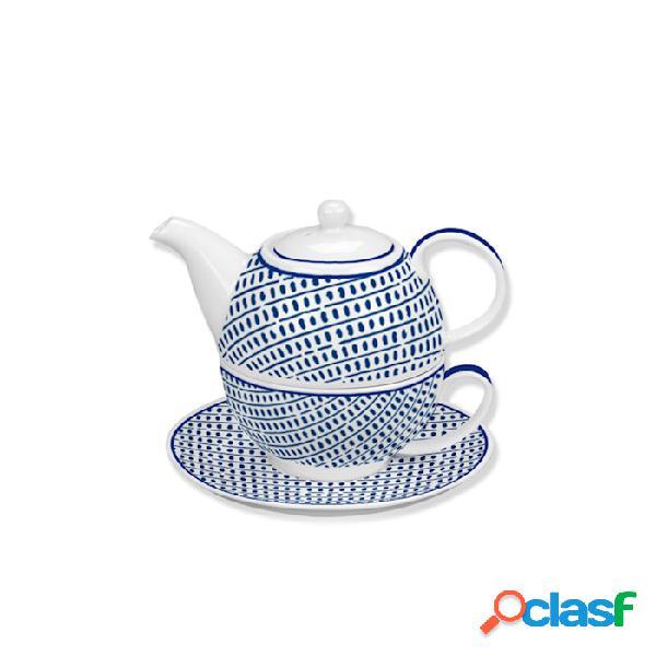 Tea for one andalusia in porcellana bianca e blu - fantasia