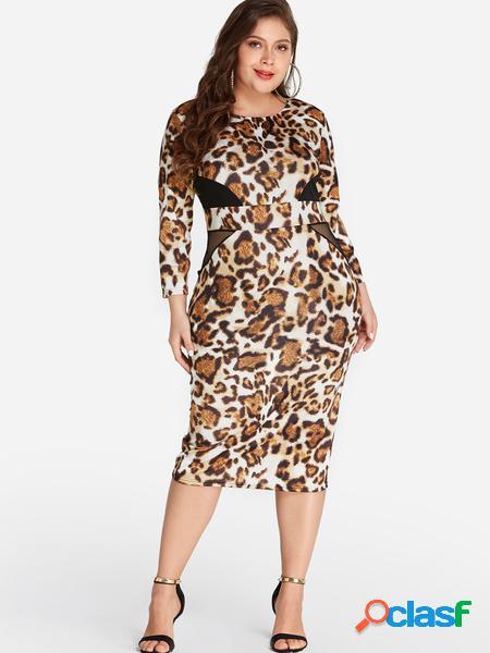 Yoins plus abito longuette leopardato taglia