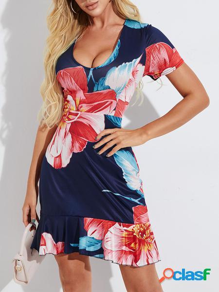 Yoins Design allacciato con stampa floreale blu scuro con abito con finiture arricciate