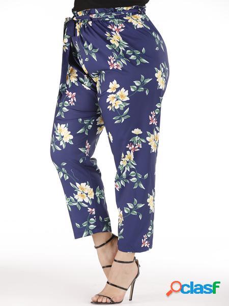 Yoins Plus Taglia Blu Random Floreale Cintura Design Pantaloni