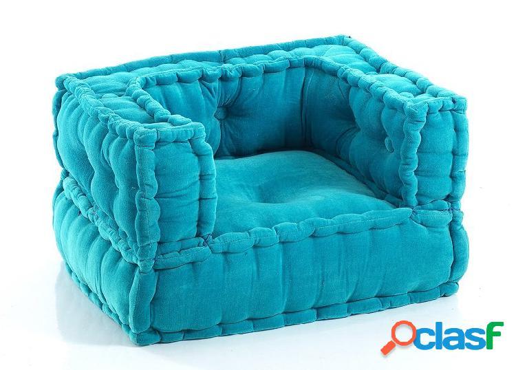 Poltroncina baby da camera velluto azzurro