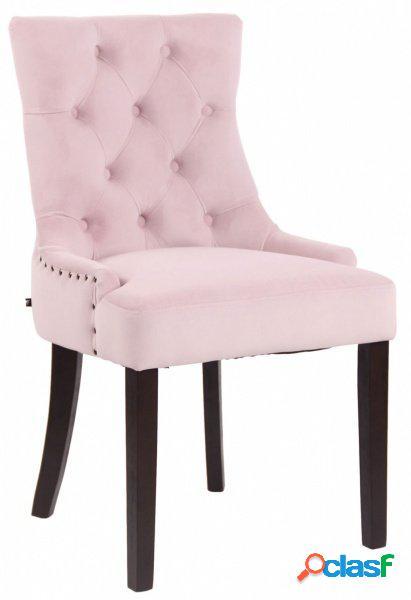 Poltroncina da camera in velluto rosa lavorato chester e borchiette