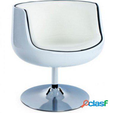 Poltroncina girevole in abs ed ecopelle bianco