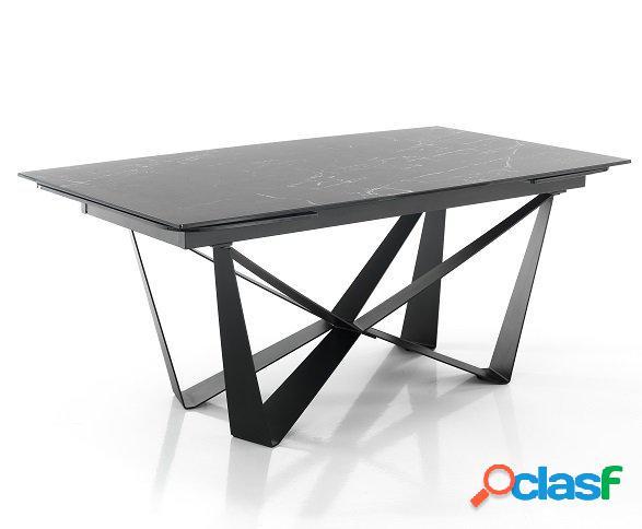 Tavolo particolare allungabile di design vetro/ceramica effetto marmo nero