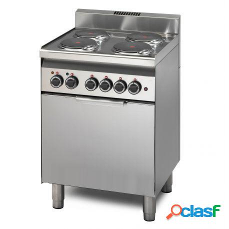 Cucina professionale elettrica con 4 piastre potenziate, forno elettrico a convezione con dimensioni gn 2/3, profondità 600 mm