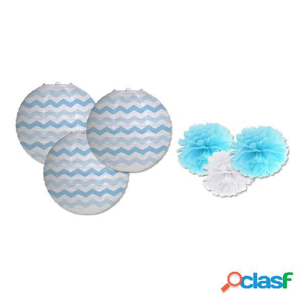 Lanterne in carta zig zag celesti 3 pz 031180 + 3 decorazioni fluffy