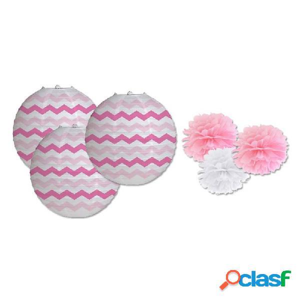 Lanterne in carta zig zag rosa 3 pz 031244 + 3 decorazioni fluffy