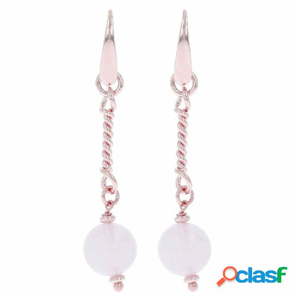 Orecchini pendenti con torchon e pietre dure | rose gold / 5.70cm / quarzo rosa