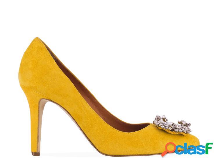 Via roma 15 decolleté donna 3069yellow camoscio giallo