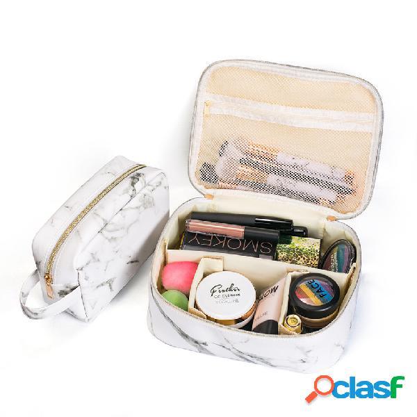 Portatile comestic borsa marmo trucco organizzatore custodia borsa viaggio borsa nero bianco due dimensioni