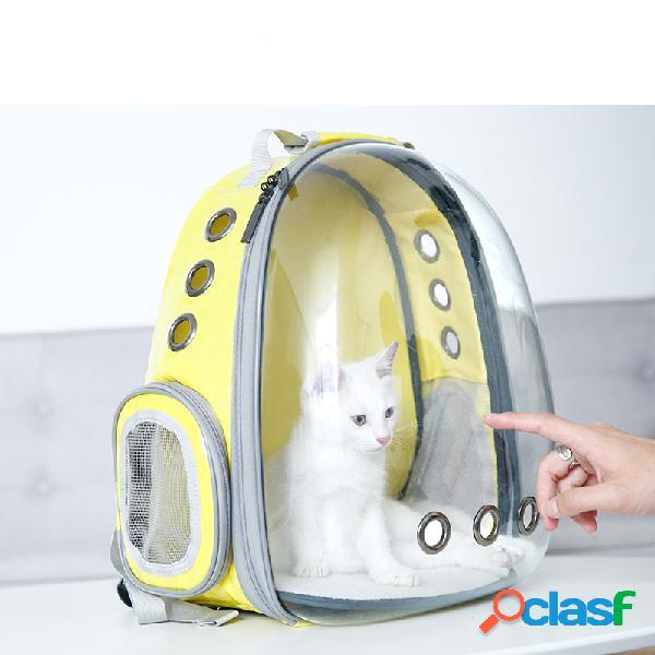 Traspirante trasparente zaino da viaggio per animali domestici zaino per cani e gatti borsa