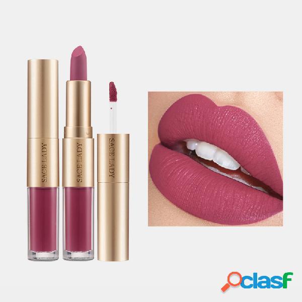 2 in 1 matte rossetto lucidalabbra design a doppia testa impermeabile soft labbro cosmetico liscio trucco