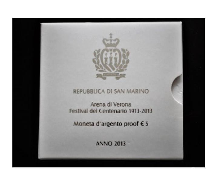 Rep. di s. marino-moneta argento 5 euro-arena di verona-2013