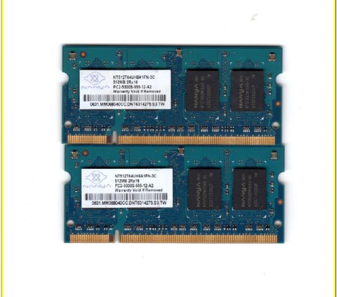 Memoria ram nanya 1gb 2x512mb ddr2 pc2-5300s