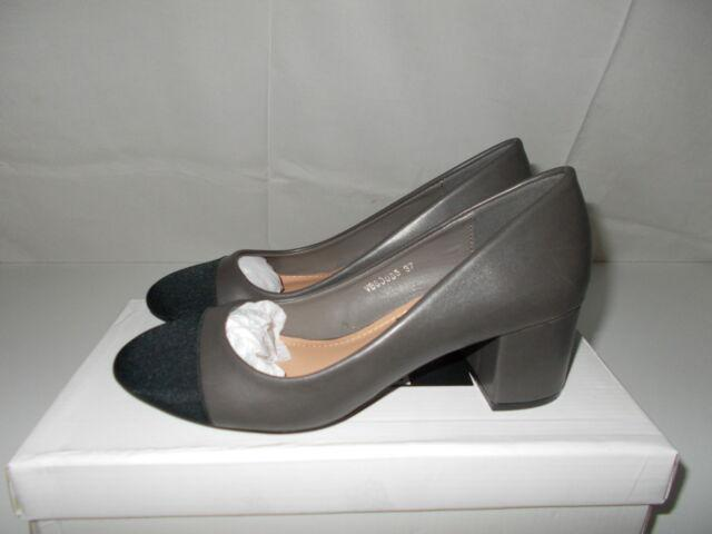 Scarpe grigie lucide tacco medio largo