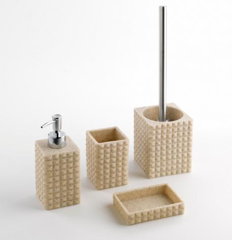 Set 4 accessori da bagno in resina tft naama sabbia