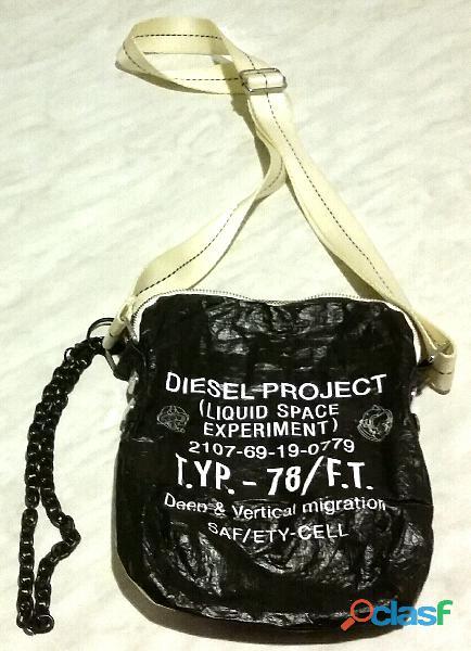 """Borsello tracolla """"Diesel"""", nero/bianco, con cerniera di chiusura esterna nuovo"""