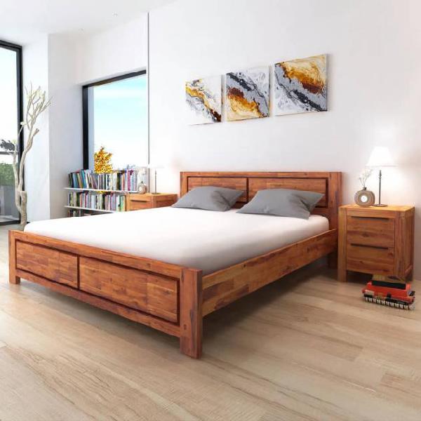 Vidaxl giroletto marrone in legno massello di acacia king